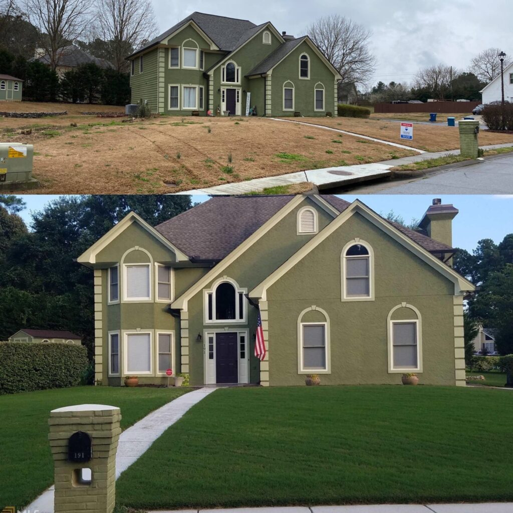 lawn care results, lawn renovation, all turf lawn care, atlanta ga